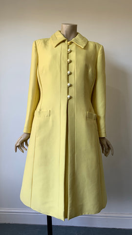 Pastel yellow Jean Patou vintage 1960s two piece dress and jacket set