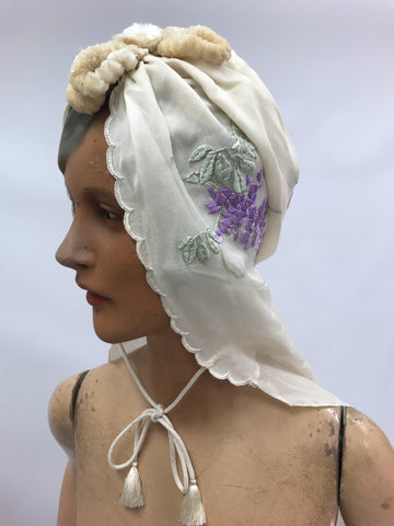 silk chiffon turban styled hooded train c.1930s with embroidered wisteria and chenille