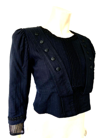 antique Edwardian midnight blue bodice or blouse with interesting details