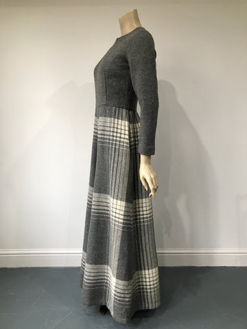 pure new wool vintage early 1970s palazzo pant suit in soft grey with blanket check