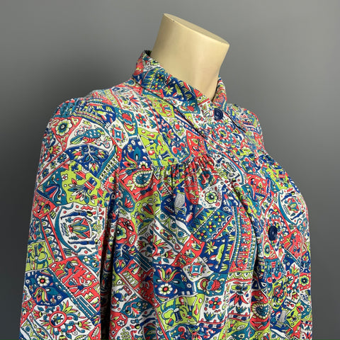 RESERVED Vintage late 1930s to 1940s novelty Egyptian revival print smock top or blouse