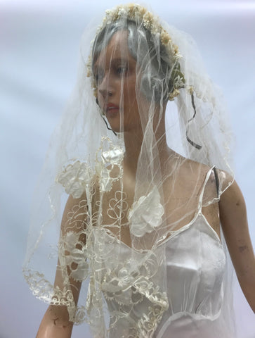 Original antique veil with attached wax flower honeysuckle blossom tiara