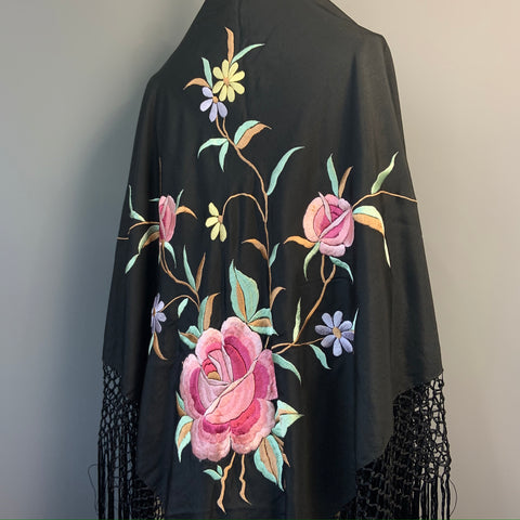 Antique to vintage 1920s floral embroidered black silk piano shawl with deep fringe