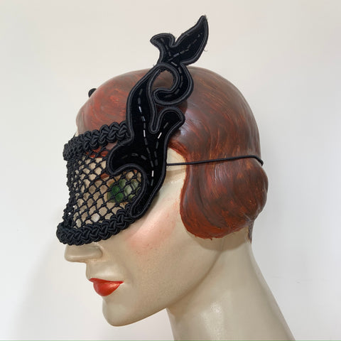original vintage black velvet bugle beaded masquerade mask