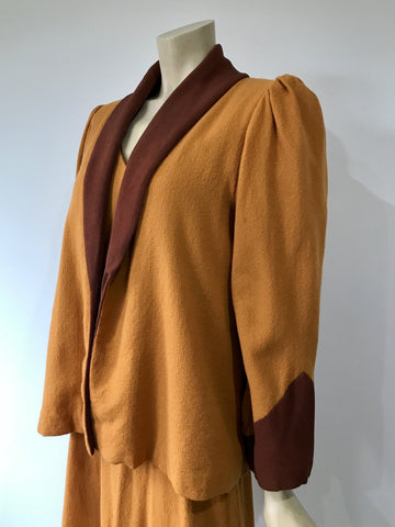wonderful pumpkin wool crepe vintage swing jacket and dress set
