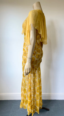 Late 1920s / 1930s cheery yellow silk chiffon tea dress and capelet