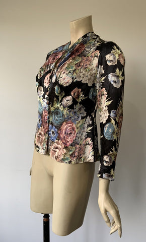 1930s floral floral satin print blouse with covered buttons