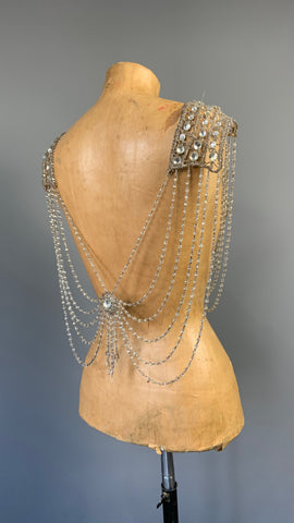 vintage to antique 1920s 1930s Czech crystal chandelier style glass beaded costume or evening capelet