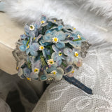 Pretty little vintage forget-me-not corsage or boutonnière with lamé accents