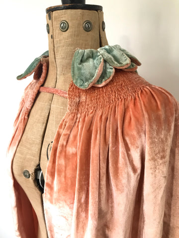 Late 1920s to 1930s pale pink velvet cape with petal collar and ruching