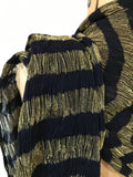 vintage of uncertain age! fine navy wool crepe and gold lamé striped fortuny style scarf