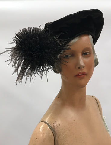 Antique teens dark brown black velvet tam style hat with maribou