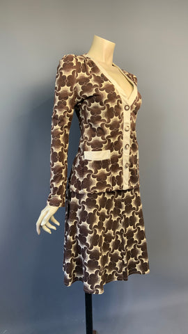 1970s does deco Simon Jeffries biba-esque two piece jersey knit skirt and jacket
