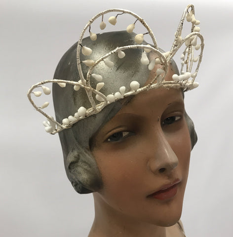 Silk wrapped vintage wax flower tiara or halo style wedding headdress c.1910s