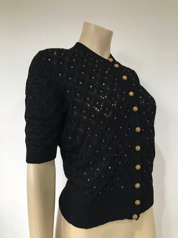 Vintage knitted cardigan with filigree bass buttons and gelatine sequins