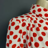 1980s does 40s red and white polka dot crepe blouse