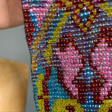 RESERVED vintage beaded glass narrow tie scarf or belt in pinks and blues