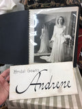 Original fashion dress designs from 1940s bridal salon - plus sign and photograph