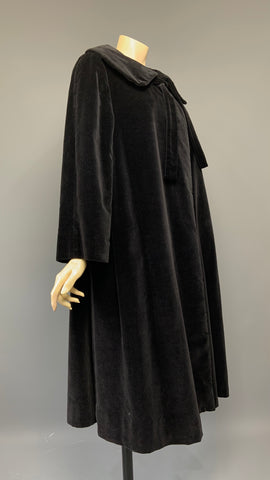 elegant black velvet vintage 1950s swing back opera coat