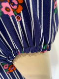 1970s vintage blue and white striped smock top with balloon sleeves and floral print