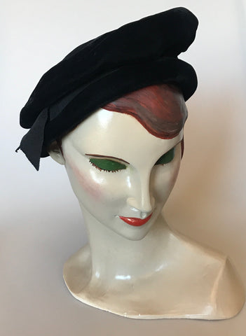 Soft tam style velvet black vintage hat with grosgrain ribbon trim
