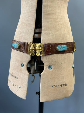 antique leather unusual 1920s Egyptian revival strap or hip belt with decorative cabochons