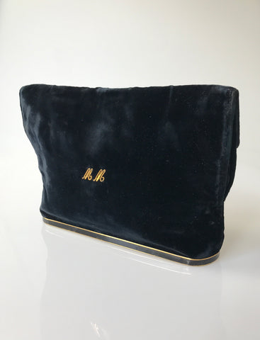 Vintage Andre Dallioux silk velvet clutch bag or purse with monogram MM
