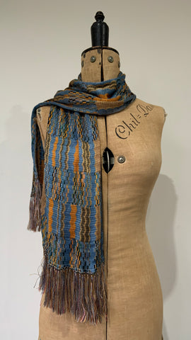 1930s vintage rayon knit scarf in blues - missoni style