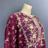 Late 1960s to 1970s original printed cotton mirrored and embroidered blouse