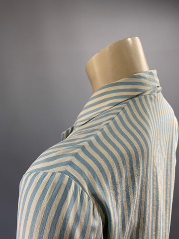 'Tengol Regd - Pure Silk British Made' candy striped vintage blouse - 34