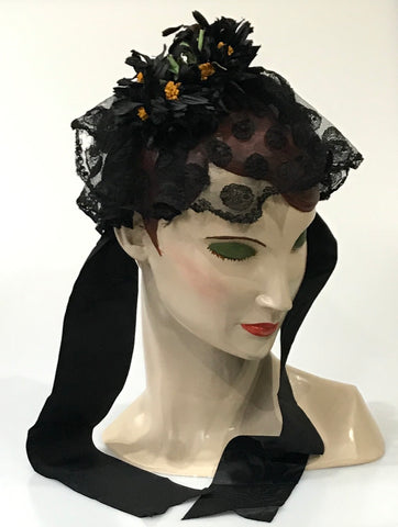 antique 19c Victorian mourning cap with floral decoration