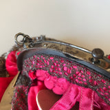 Antique 1900s does Georgian cut steel beaded pink velvet evening purse - Made in France