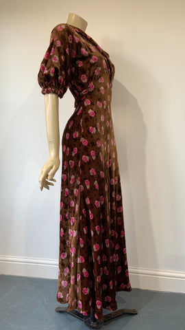 1930s vintage art deco printed bias cut velvet day to evening dress with lantern sleeves