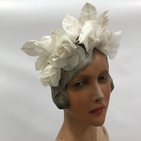 vintage c.1930s wired chiffon flower and leaf bridal crown or headdress