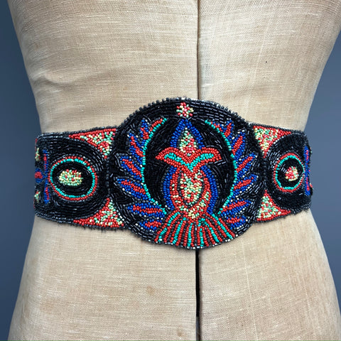 1920s glass beaded embellished belt in bold colours