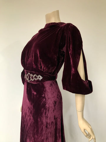 vintage 1930s rich velvet bias cut evening dress with split sleeves and rhinestones