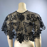 Late Edwardian to 1920s cut steel and sequins in vine design - full tulle collar or capelet