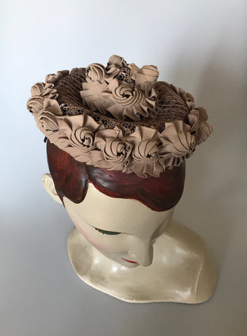 Vintage cappuccino coloured soutache and raffia tilt or topper hat