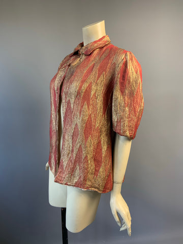 1930s vintage lamé jacket in harlequin weave russet and gold - peach velvet lining
