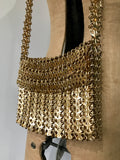original 1960s Paco Rabanne style space age chain mail interlinked disc bag  - Walborg Purse?