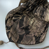 1920s gold and black lamé evening pouch with bullion tassel