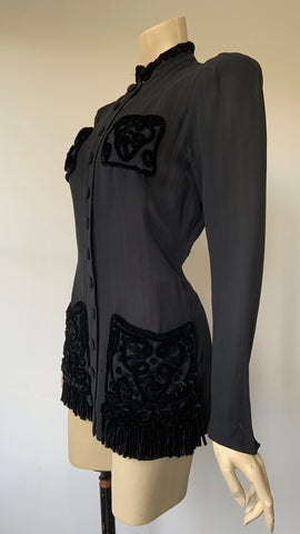 1930s black longline fitted jacket or blouse with chenille soutache and fringe