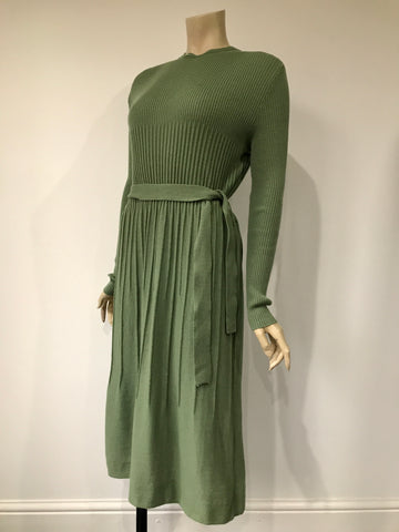 vintage late 1970s knitted wool Cresta dress in sage green