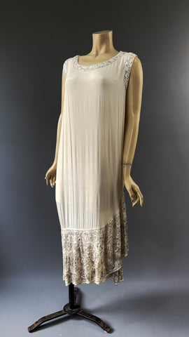 1920s beaded ivory silk dress - as is