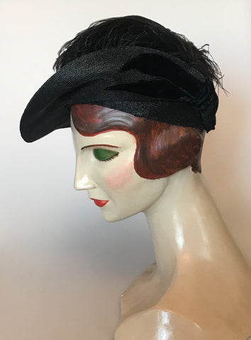 Vintage 1930s black tilt feather hat with velvet trim