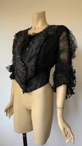 C.1890s to 1900s Jay's pigeon fronted mourning bodice polka dot