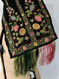 Antique oriental finely embroidered scarf or collar textile piece