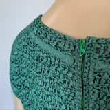 c.1960s soft jade green ribbon work knitted vintage blouse with capped sleeves