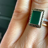 Art Deco chrysoprase ring set in unmarked silver with marcasite