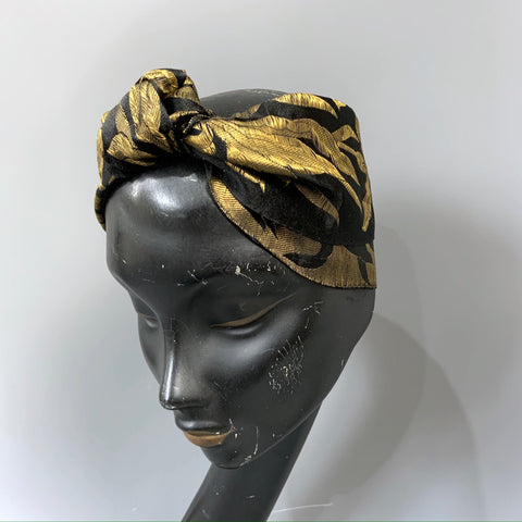 Useful length of vintage 1920s black and gold lamé fabric - millinery use?